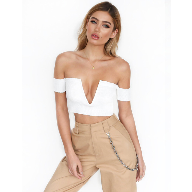 579e8658f9ee48 2017 Off Shoulder Crop Top Sexy Slash Neck Women Tank Top Short Sleeve  Bustier Deep V Party White Top Tees Slim Female Camisole