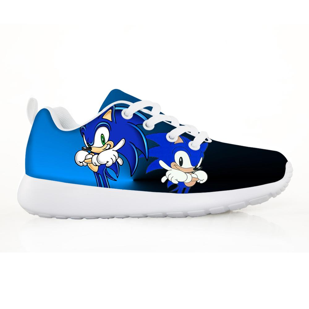 2019 Fashion Children's Shoes Sneakers for Children Boys Girl Pretty Sonic the Hedgehog Kids Casual Flats Breath Lace up Shoes-in Sneakers from Mother & Kids