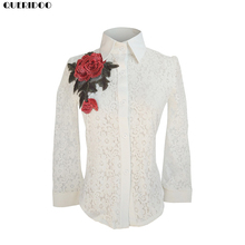 QUERIDOO Lace Blouse for Women New Embroidery Floral Turn-down Collar Lady Long Sleeve Blouse Shirt Women Shirt Dress Polo Shirt