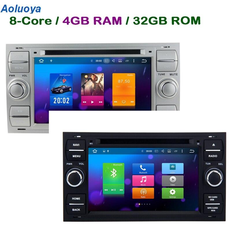 Aoluoya 4 ГБ Оперативная память 32 ГБ Встроенная память Octa Core Android 8,0 2 Дин DVD gps плеер для Ford Focus 2000 2001 2002 2003 2004 2005 2006 радио