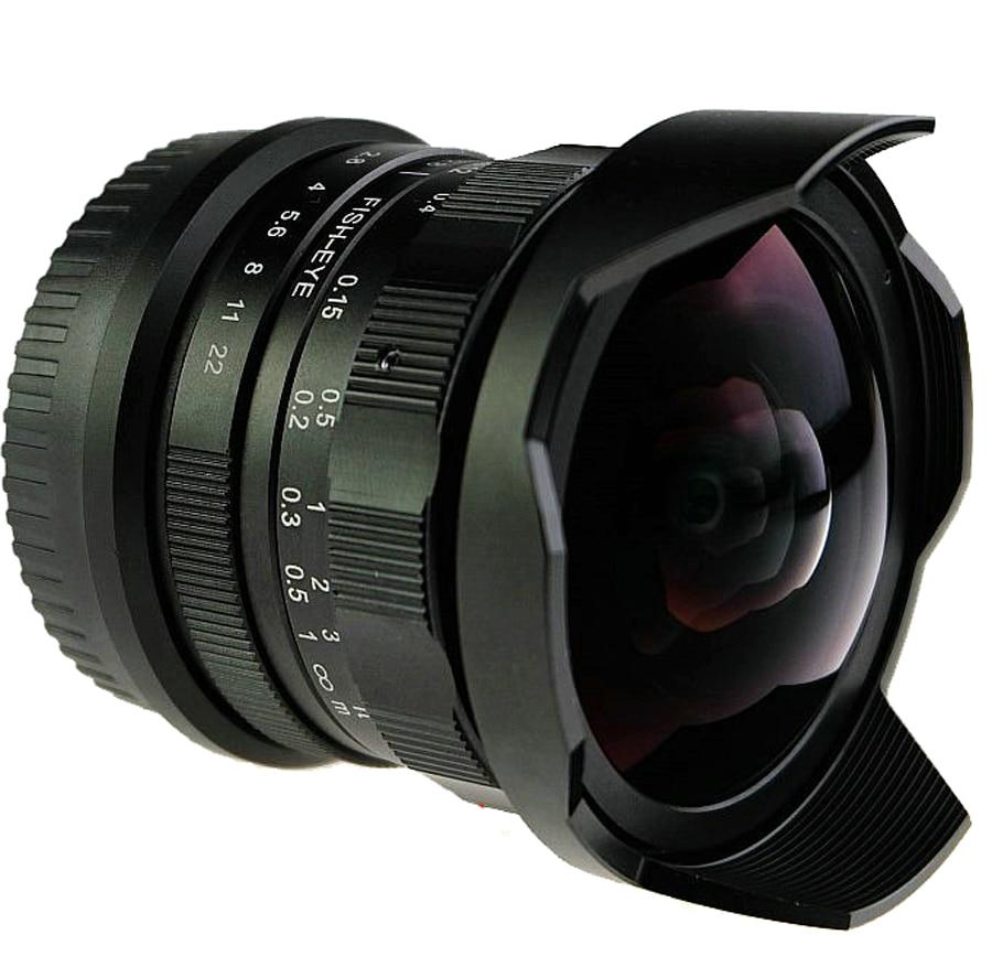 8mm F2.8 Ultra Grand Angle Fisheye Objectif pour Sony NEX e-mount A7 A6300 A6000/Macro 4/3 M4/3 GH4 BMPCC/Fuji FX DSLR caméra