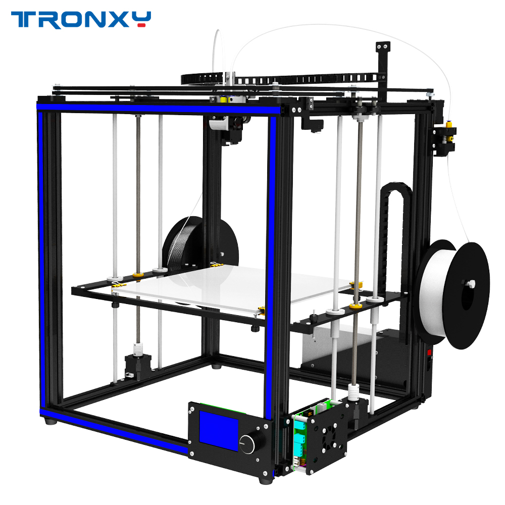 2018 Newest Tronxy 3D Printer X5S-2E Big Print Size330*330*400mm Mixed color Double Feeding port 3d printer Metal frame double print frame