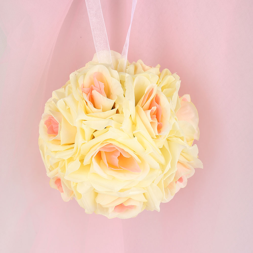 Hot 5pcs Handmade Artificial Flowers Silk Rose Kissing Flower Hanging Ball DIY Bouquet Wedding Party Decor