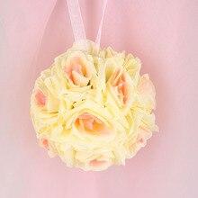 Горячая 5 шт. ручной искусственные цветы шелковый роуз поцелуи цветок висит шар diy букет свадьба декор 6 имеющийся цвет