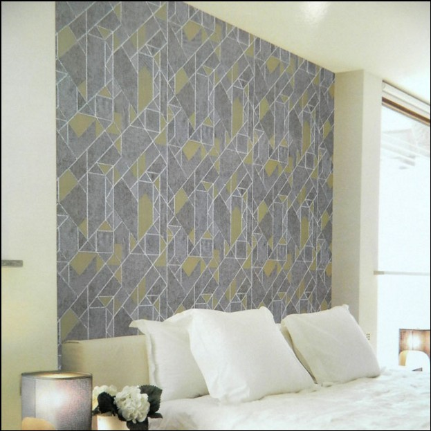 Clic New Fashion Feast High Grade Iron Grey Yellow Wallpaper Solid Geometry Block Wall Stickers