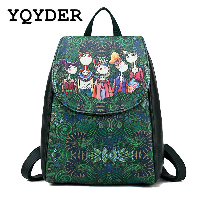 Luxury Brand Women Backpack High Quality PU Leather School Bags for Teenagers Girls Green Forest Bagpack Shoulder Bag Mochila