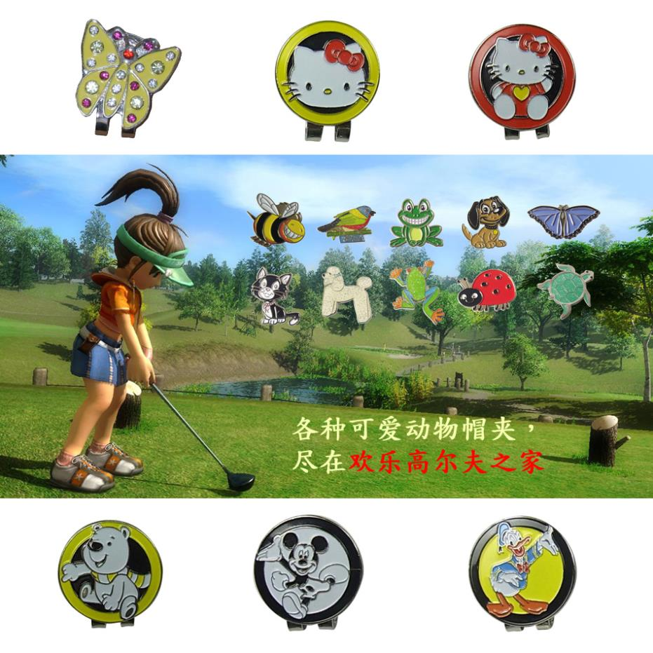 Free shipping golf hat clip marker mark 16 kinds lovely animal hat clip golf ball hot hat ball simulation mini golf course display toy set with golf club ball flag