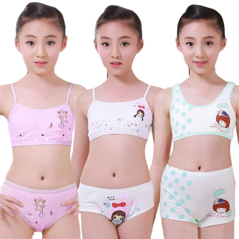 Meninas adolescentes roupa interior conjunto de treinamento sutiãs camisola colete & calcinha boxer breve adolescente puberdade jovem menina confortável cuecas