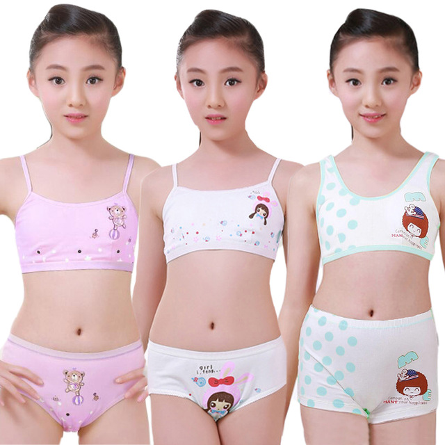 d538416c81 Teenage Girls Clothing Underwear Set Training Bras Camisole Vest   Panties  Boxer Brief Adolescent Puberty Young