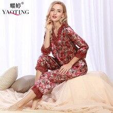 YT8 2017 Womens Faux Silk Pajamas Sets Spring Summer Female Lace Printed Satin Pyjamas Sleepwear Loungewear