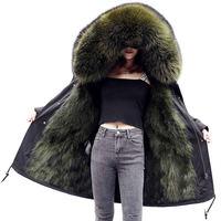 Зимняя куртка Женская куртка парка пальто лиса меховой воротник манжеты пальто с капюшоном парка верхняя одежда Теплый Сгущает плюс Размер