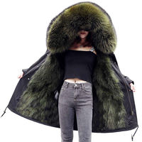 Winter Jacket Women Parka Coat Fox Fur Collar Cuff Hooded Coat Parka Outerwear Warm Thicken Plus Size Winter Jacket Parkas Q963