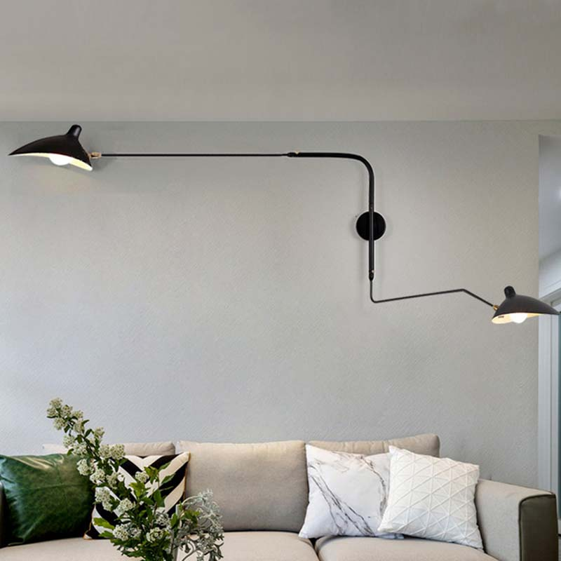 Black White Retro Loft Industrial Vintage Wall Lamps French Designer Rotating Sconce Wall Lights For Home