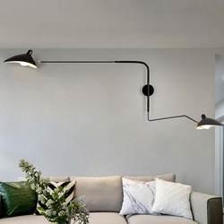 Черный, белый цвет ретро Лофт Промышленные Винтаж Настенные светильники французский дизайнер вращающийся бра, настенные светильники для