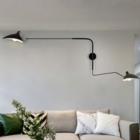 Black White Retro Loft Industrial Vintage Wall Lamps French Designer Rotating Sconce Wall Lights For Home Decoration