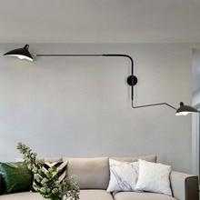 Negro Blanco Retro Loft vintage industrial lámparas de pared diseñador francés giratorio lámpara de luces de la pared para la decoración del hogar