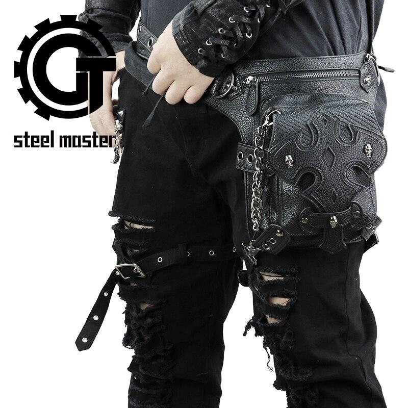 Black Sewing Waist Bag Pack Retro Rock Leather Shoulder Messenger Leg Bag Fashion Gothic Holster Bag Steampunk Skull Fanny Packs