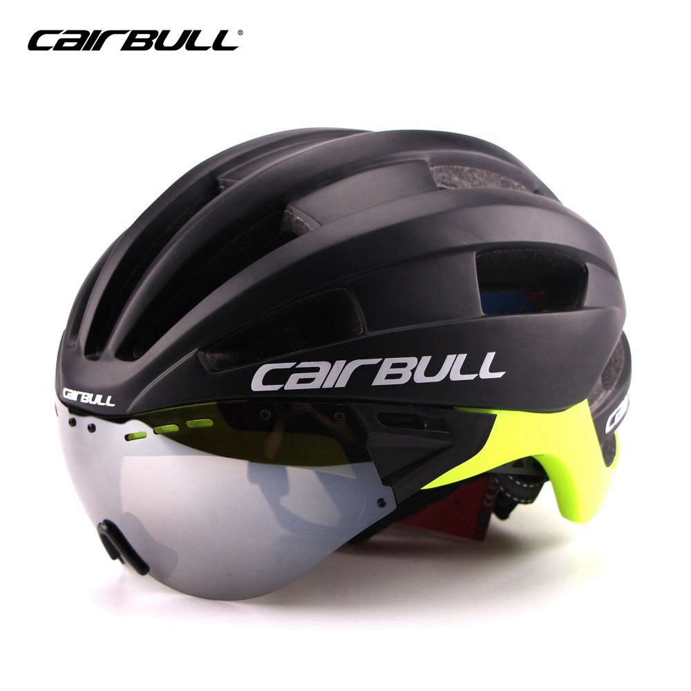 New CAIRBULL Bicycle Helmet with Sunglasses Integrally Molded Men Women Mountain Road Bike Cycling Goggles Helmet gub tt bicycle bike cycling helmet ultralight integrally molded mtb bike road bike helmet goggles helmet with magnetic uv visor