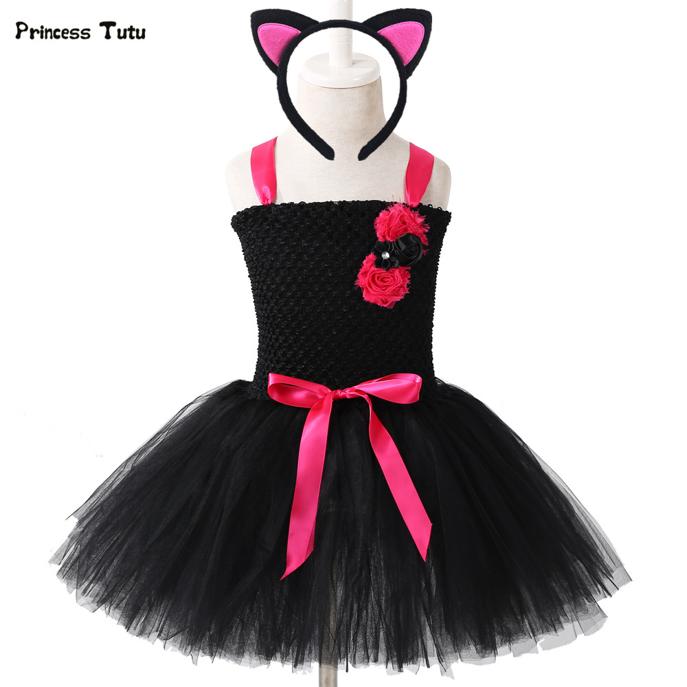 7ca8518311 Detail Feedback Questions about Black Cat Girls Tutu Dress With Headband Tulle  Girl Birthday Party Dress Kids Girls Halloween Carnival Cosplay Cat Costume  1 ...