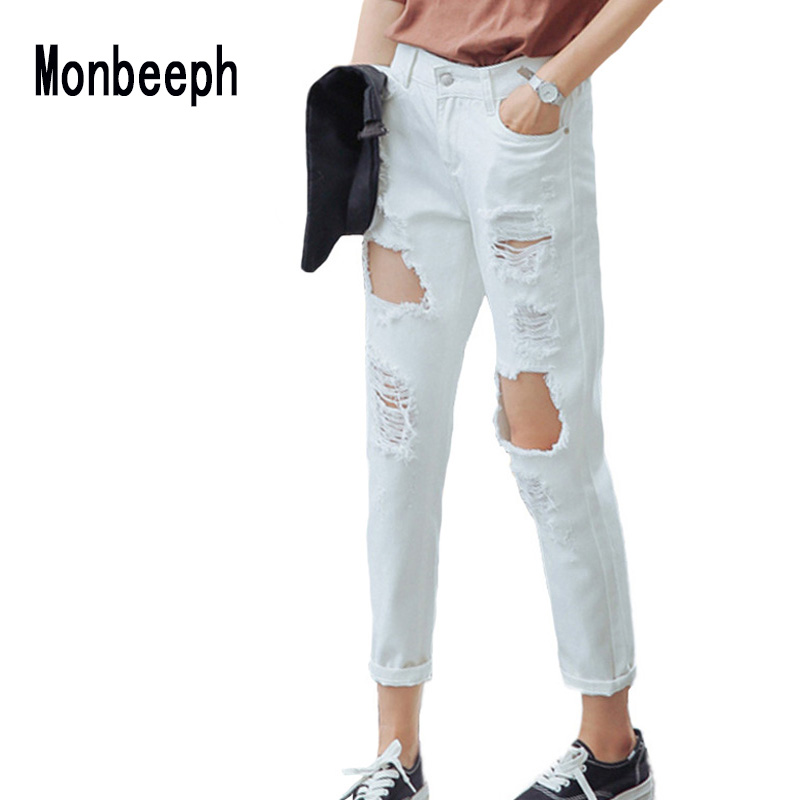 Pants Hole Trousers Vintage Jeans New-Fashion Tassel Mujer Spliced Ripped Harem