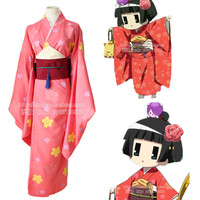Ichimatsu Kohina cosplay costumes red print kimono Japanese anime Gugure! Kokkuri san(Kimono + Girdle + Rope + Large bow tie)