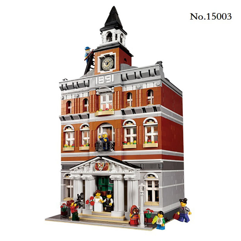 DHL Free Shpping LEPIN Creators City Streets The Town Hall Model Building Blocks Kits Sets 2859Pcs Toys for Children Kids Gifts lepin 1767 city town city square building blocks sets brick kid model kids toys for children marvel compatible bela diy gift toy