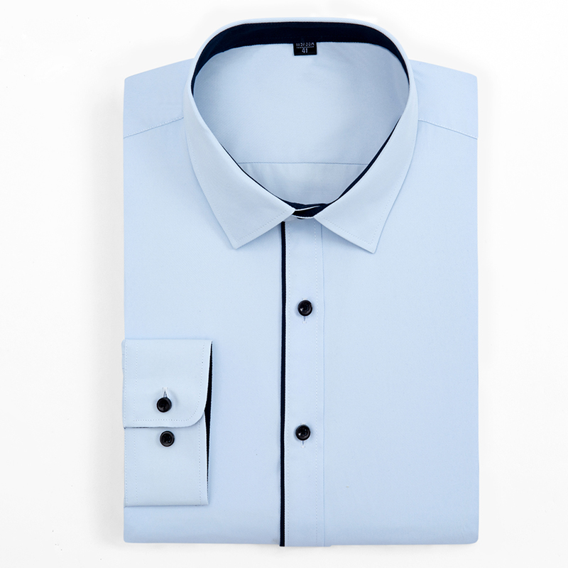 Men's Long Sleeve Solid Twill Basic Dress Shirts Button Closure With Black Piping Standard-fit Casual Blouse Work Office Shirt