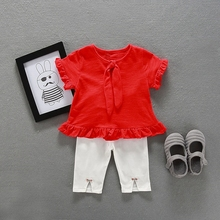 Summer Baby Girls Short Sleeve Ruffles Bowtie Princess Blouse Tops Skinny Pant Infant Clothing Sets Kids