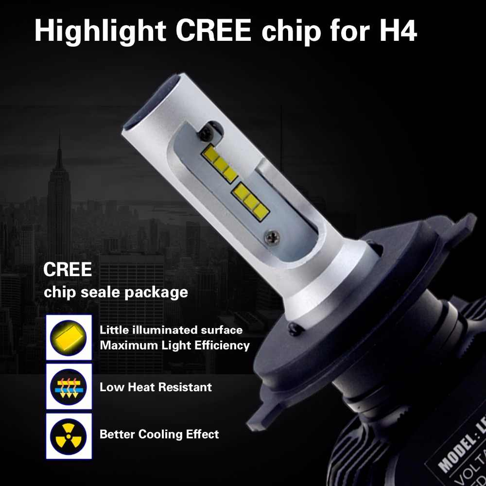 Geetans 2pcs H4 H7 LED Car Headlight 9006 9007 9008 H1 H3 H13 H11 H27 880 Auto COB LED light 6500K 50W 4000LM for all car DB