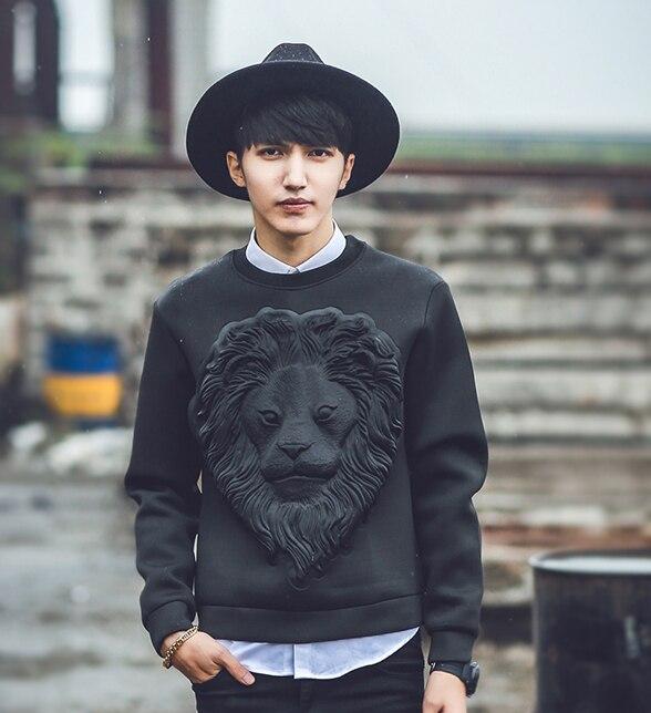 Tide Brand O-Neck Regular Full Men's 3D Lion Print Black Cool Men Sweatshirts Hoodie Slim Boy Tiger Head Sweatshirts Top Men