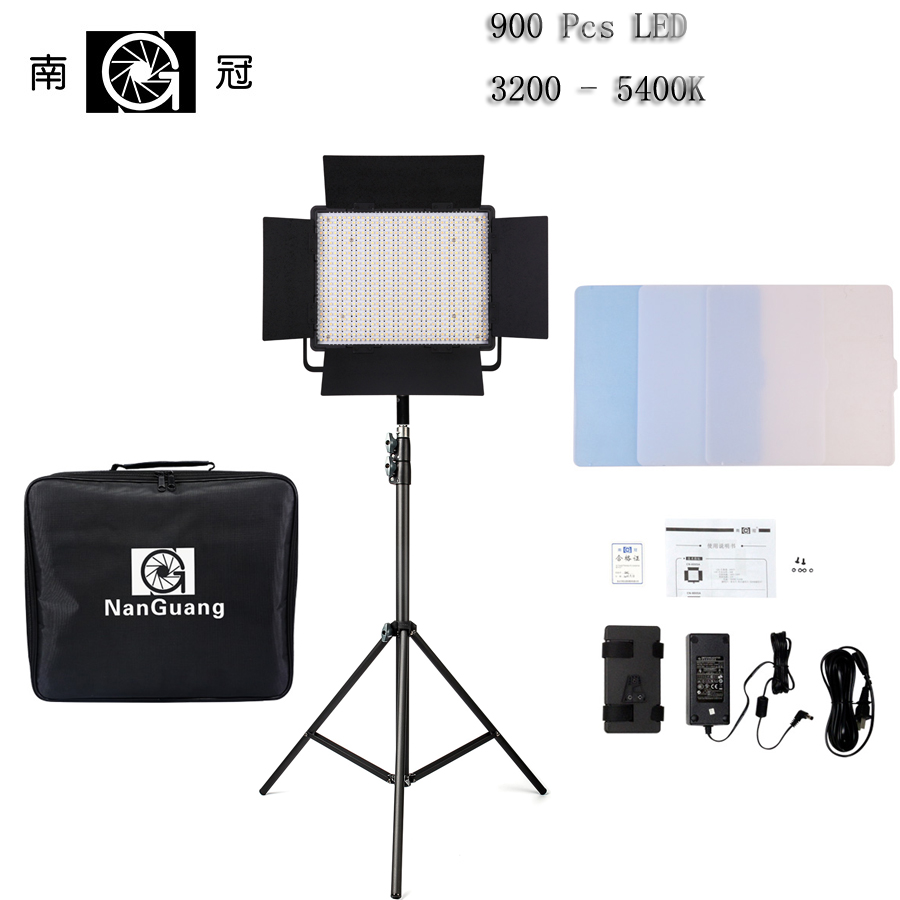 Nanguang CN-900SA Bi Color RA95 CRI95 LEDS 6850 5600K LED Video Studio Light Panel with V Lock Battery Mount DSLR Camera Light