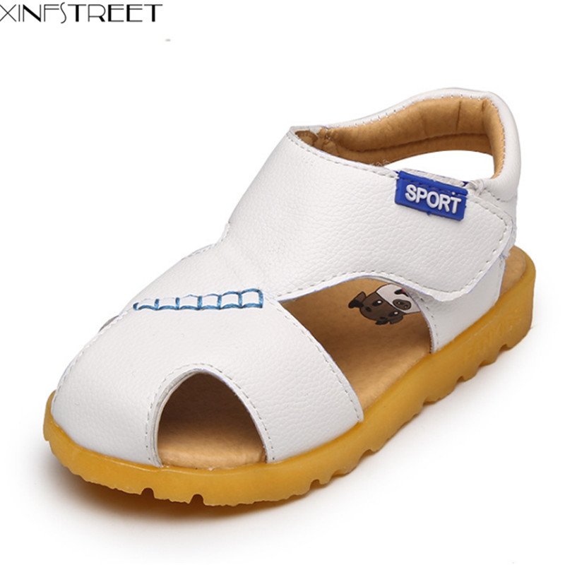 Xinfstreet Baby Boys Shoes Summer Soft Cow Leather Kids Boys Beach Sandals Children Sandals For Boys Size 21-30
