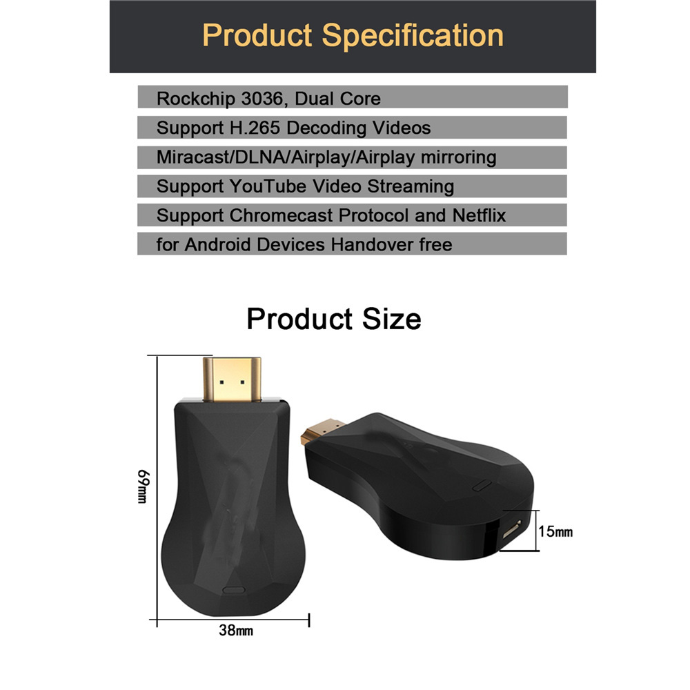 HDMI Wireless WiFi Display Mirror TV Dongle stick Media Streamer for Google  Chromecast For Android/IOS phone for Mac/Windows PC-in Replacement Parts &