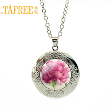 TAFREE Vintage Flowers Neaklace vintage simple elegant Pictures of real flowers locket Pendant for women great gift jewelry A802