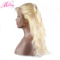 Ms Love Blonde 613 360 Lace Frontal Body Wave Human Hair Closure Transparent Lace Frontal Brazilian Remy Hair 1 Pieces