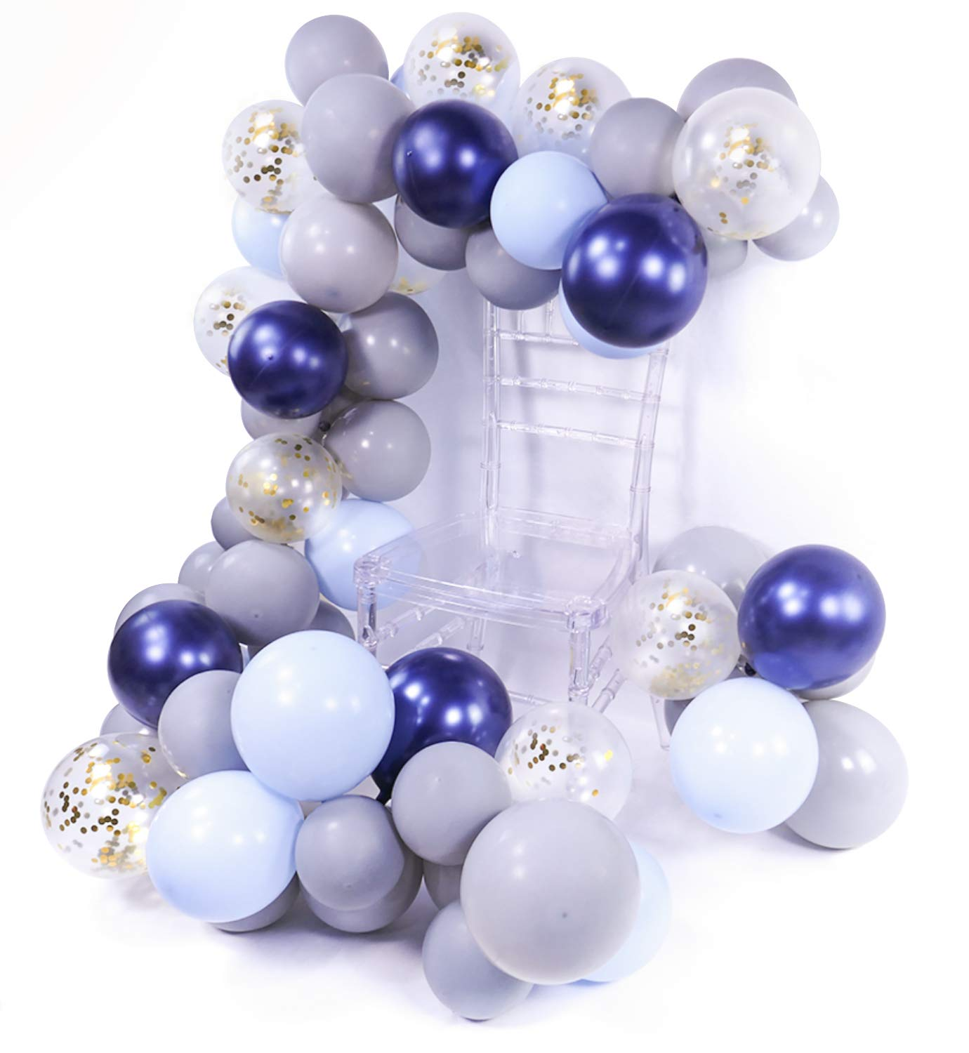 METABLE 100 pcs 12/10 Inch Gray Navy Blue Baby and Gold Confetti Party Balloons for Boy Shower Decorations