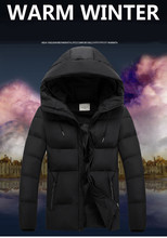 2017 Winter Men Thickening Coat Men's Hooded Cotton-padded Fashion Solid  Jacket Warm  Parkas Plus Size Top Clothes z30