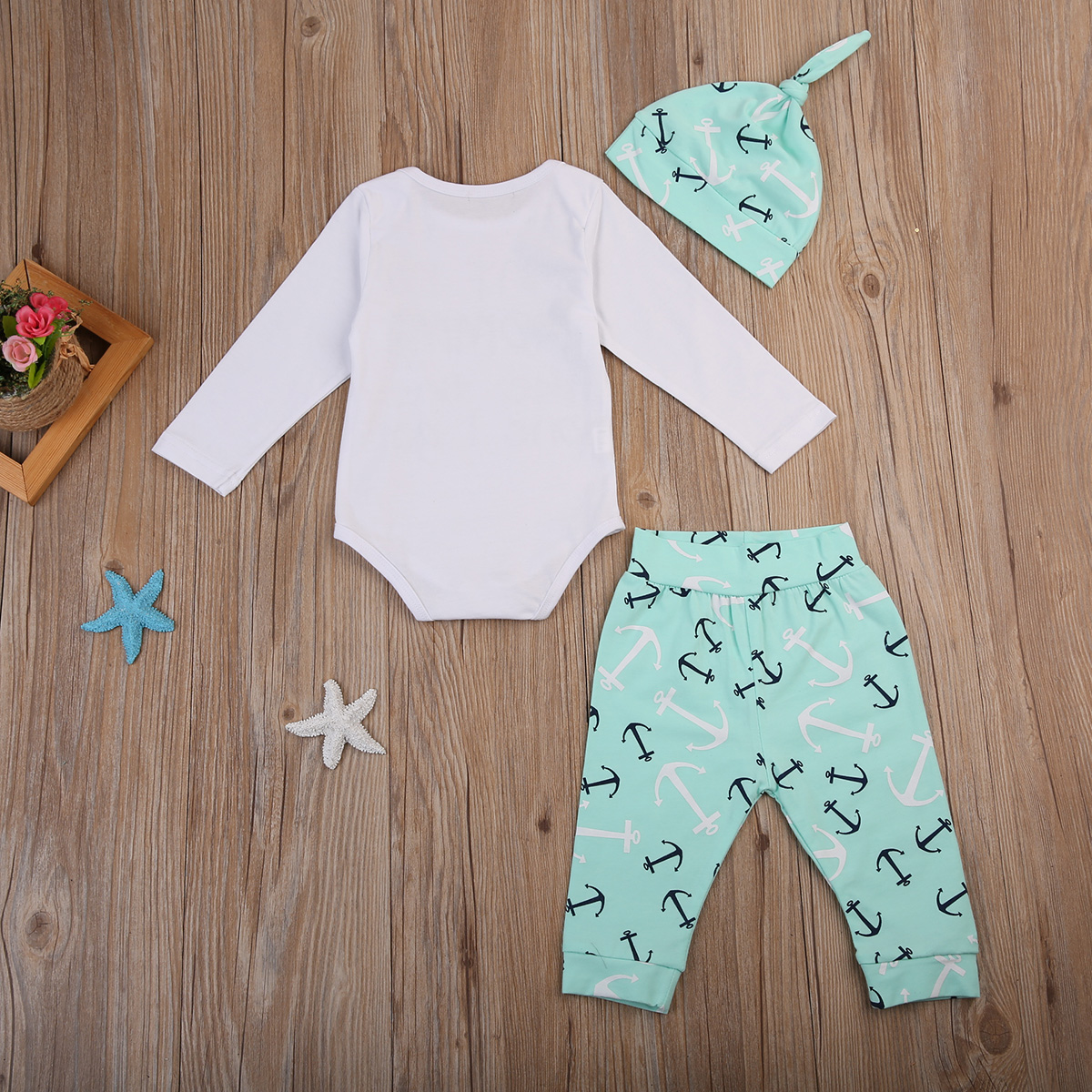 af3f72a57 3PCS Newborn Baby Boy Clothes Long Sleeve Romper Tops+Anchor Pant Hat  Outfit Toddler Kids Clothing Set-in Clothing Sets from Mother & Kids on  Aliexpress.com ...