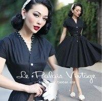 Retro Elegance 1950 Classic Black Thin Slim Dress Short Sleeve Midi Dress vintage dresses 50s 60s V neck Tunic bodycon big swing