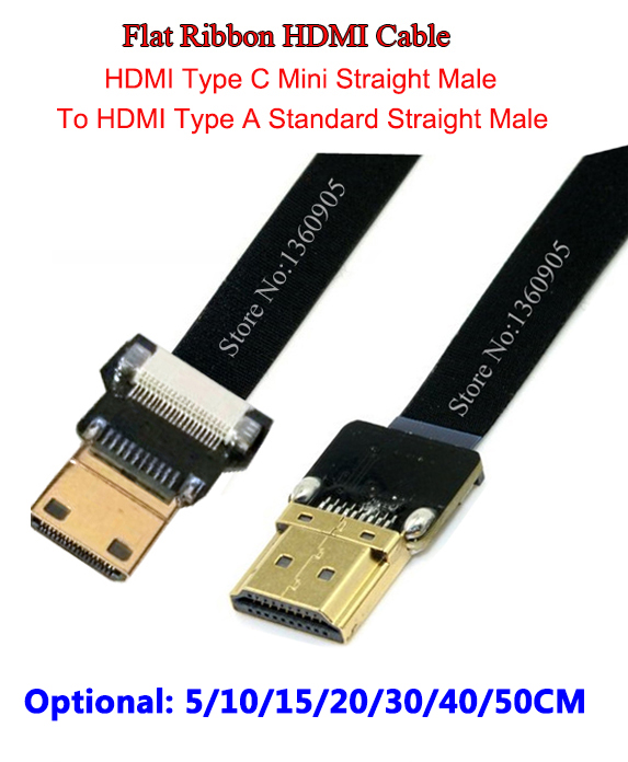 5CM/10CM/15CM/20CM/30CM/40CM/50CM Ultra Thin HDMI Cable Mini Straight male to Standard Straight Male Flat Ribbon Soft Cable FPV fx3sa 20mt cm