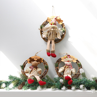 Christmas Decorations Christmas Wreath with Santa Claus Snowman Elk Dolls Xmas Tree Ornaments Wooden Rattan Garland Door Decor