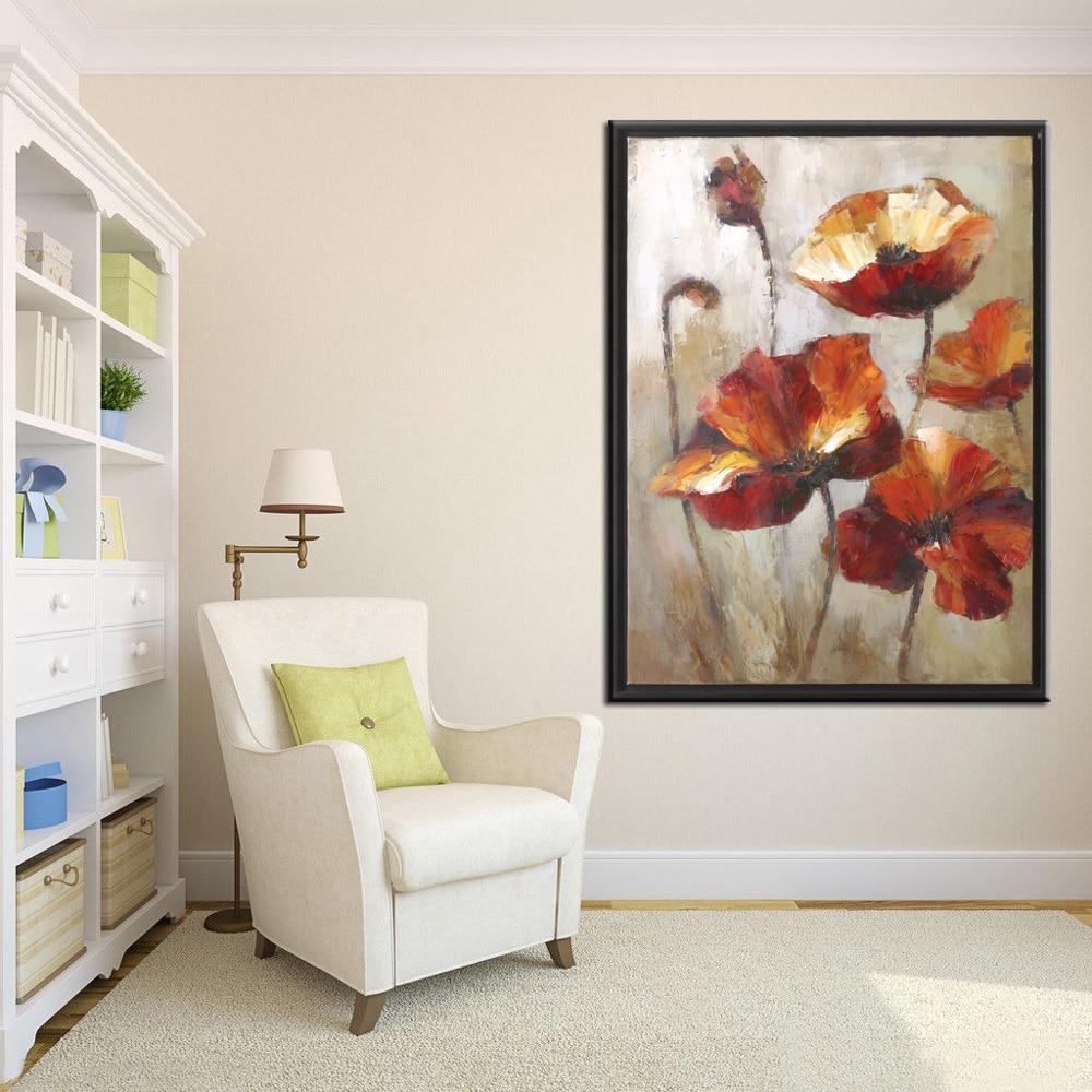 Riesige Größe Rote Blume Wandbild Abstrakte Kunst Ölgemälde für ...