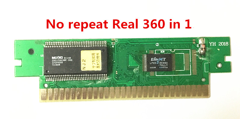 Real 360 in 1 Game Cartridge, No repeat, 8 bit FC-60Pins classical game card PCBA