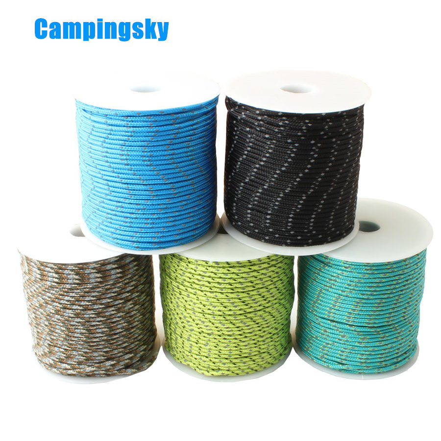 CAMPINGSKY  Reflective Paracord 2mm Paracord 3 Strand Core Outdoor Camping Rope Parachute Cord Lanyard Tent Multifunction Corda