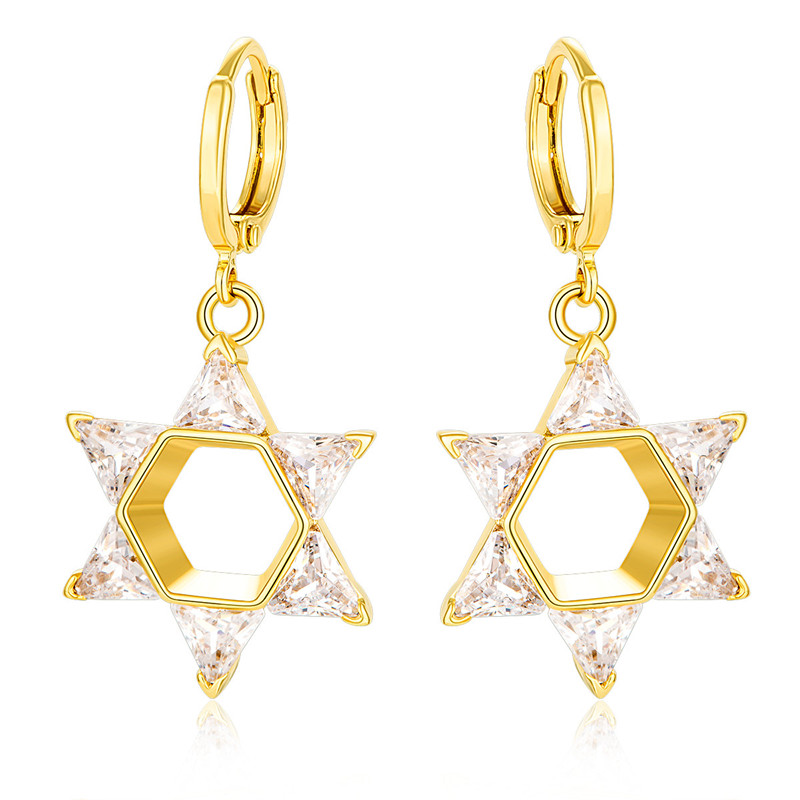 BRZHA Brand 2017 New Crystal Star Womens Gold color Earrings Cubic Zirconia Necklace Jewish Jewelery