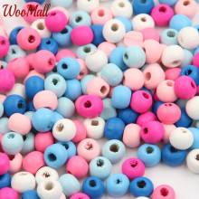 200Pcs 8mm Wooden Beads Wood Findings For Baby DIY Crafts Kids Toys Teething Necklace Pacifier Clip Spacer Beading Bead