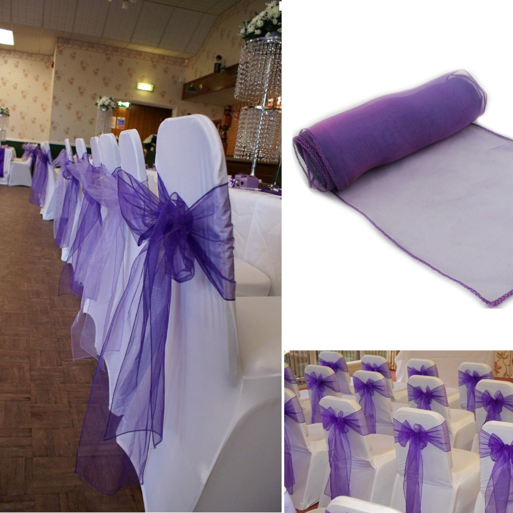 Purple Chair Sashes For Weddings Spinning Top South Africa 50pcs Wedding Sash Cadbury Organza Bow Cover Banquet Home Hotel Decoration In From Garden