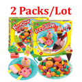 child 3d dough plasticine ice cream mould toiletry kit puzzle diy toy eco-friendly Choi mud toys brinquedos 2PACKS/LOT