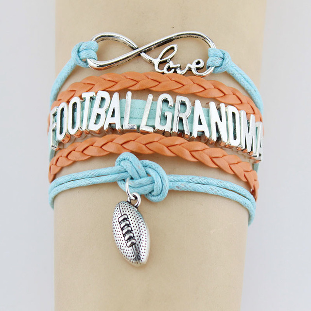 Infinity Love Football Grandma Bracelets Charm Handmade Rope Leather Weave Bangle For Women Men Jewelry