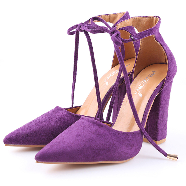 6 Colors Pointed Strappy Pumps Sexy Retro High Thick Heels Shoes 2017 New Woman Shoes Female Lace Up Shoes PA911519